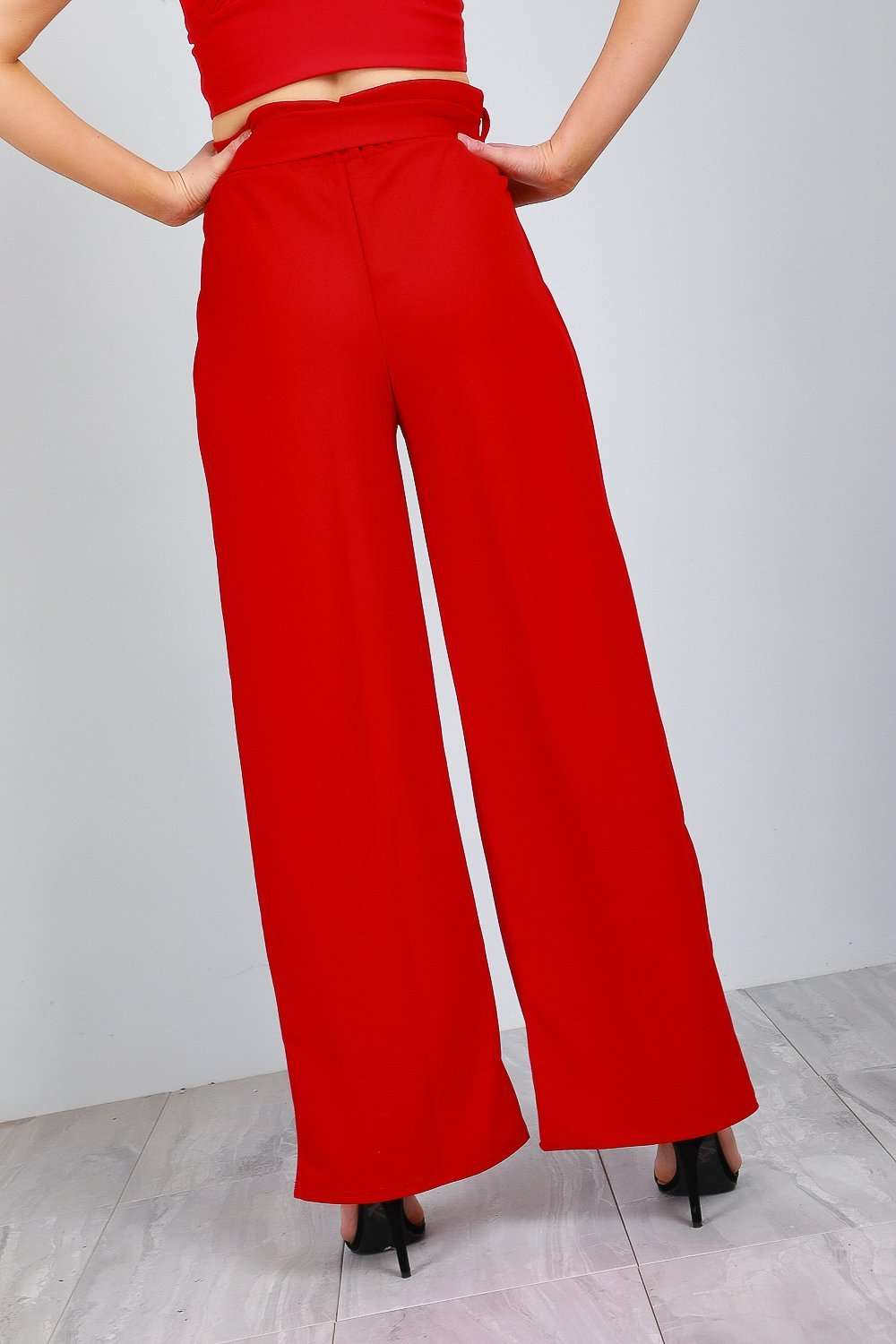 Lillie High Waist Paper Bag Wide Leg Trousers - bejealous-com