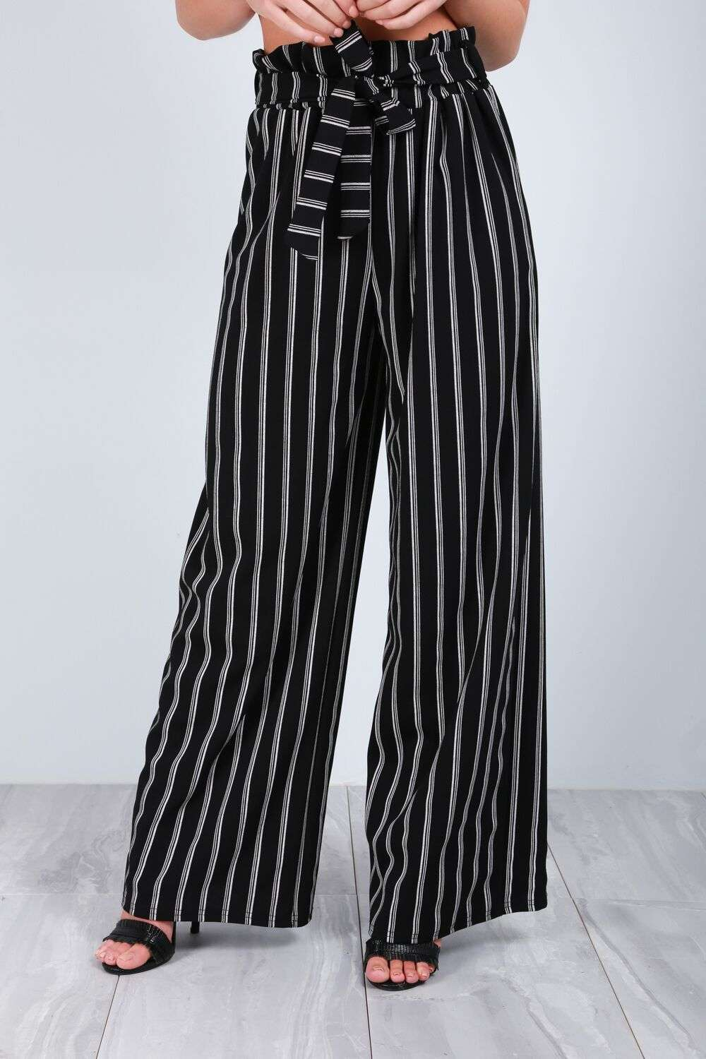 Lillie High Waist Pin Stripe Wide Leg Trousers - bejealous-com