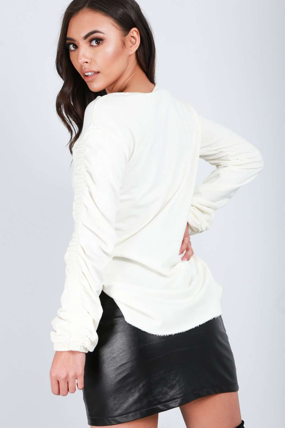 Lilly Ruched Sleeve Curved Hem Sweatshirt - bejealous-com