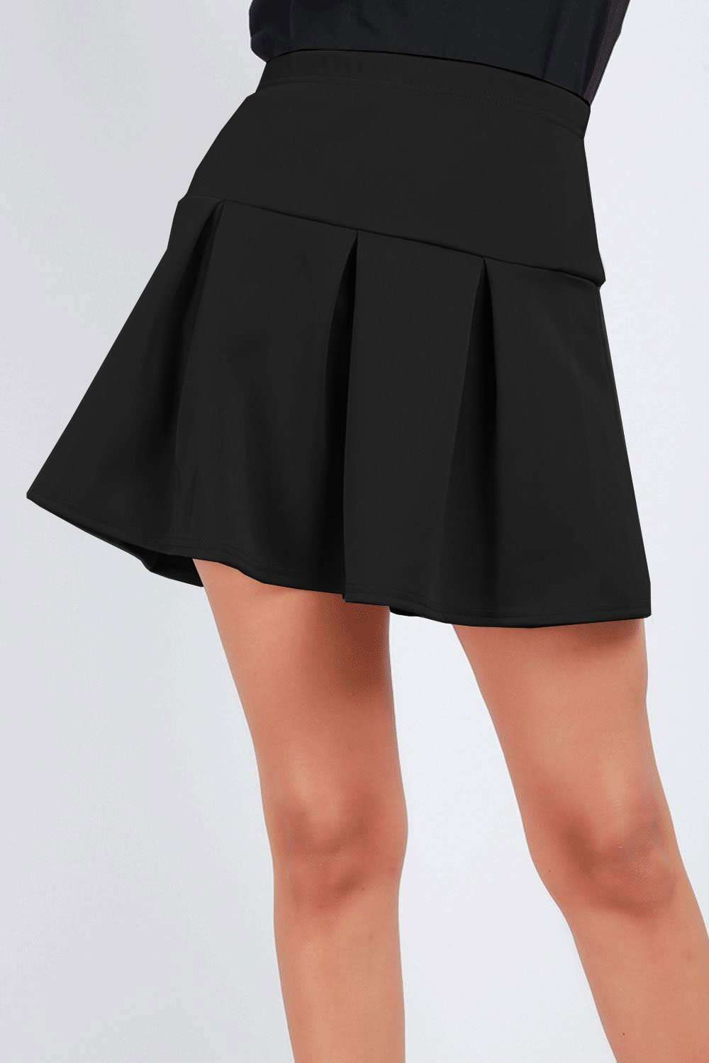 Lily High Waist Box Pleated Mini Skater Skirt - bejealous-com