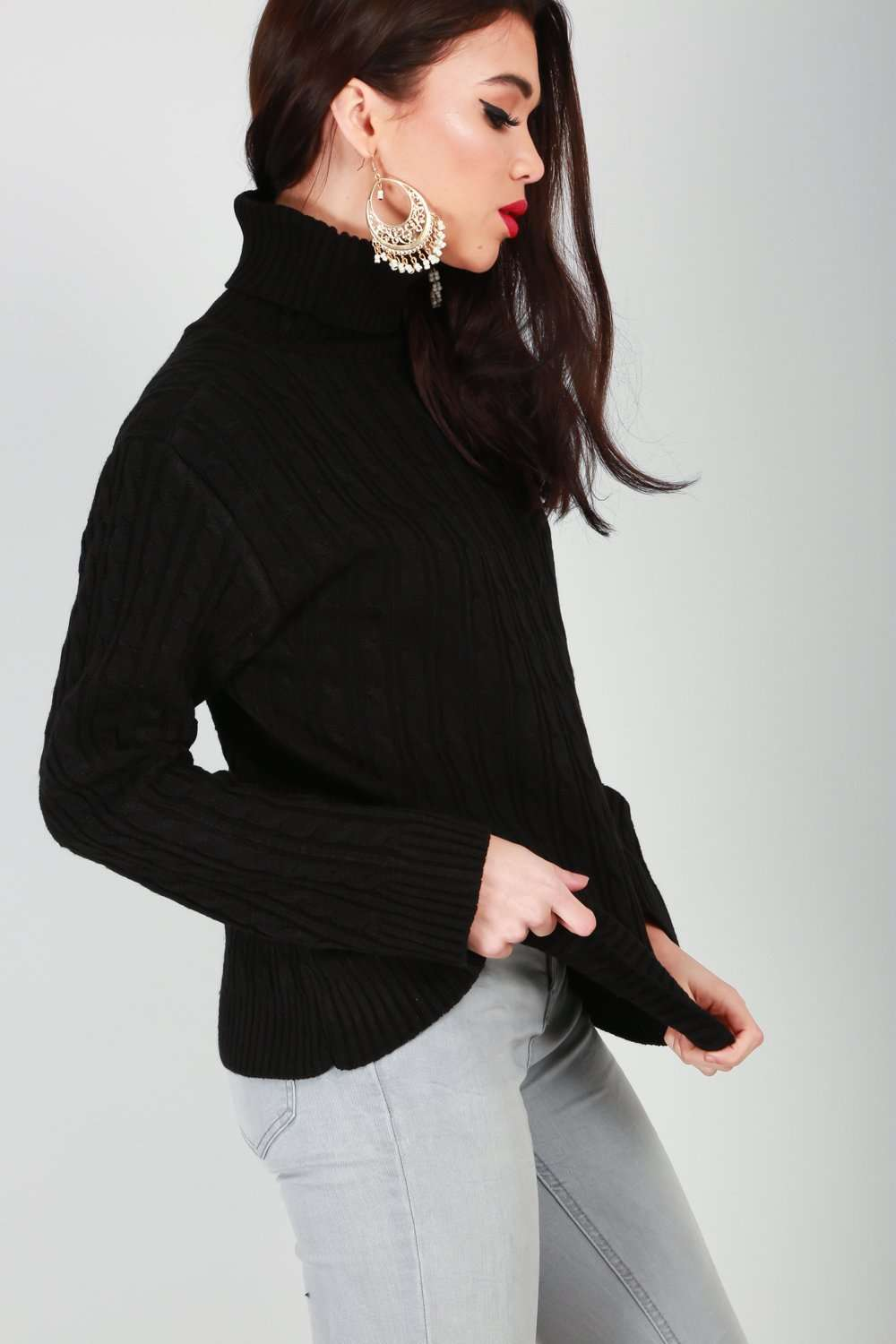 Lily Roll Neck Cable Knit Long Sleeve Jumper - bejealous-com