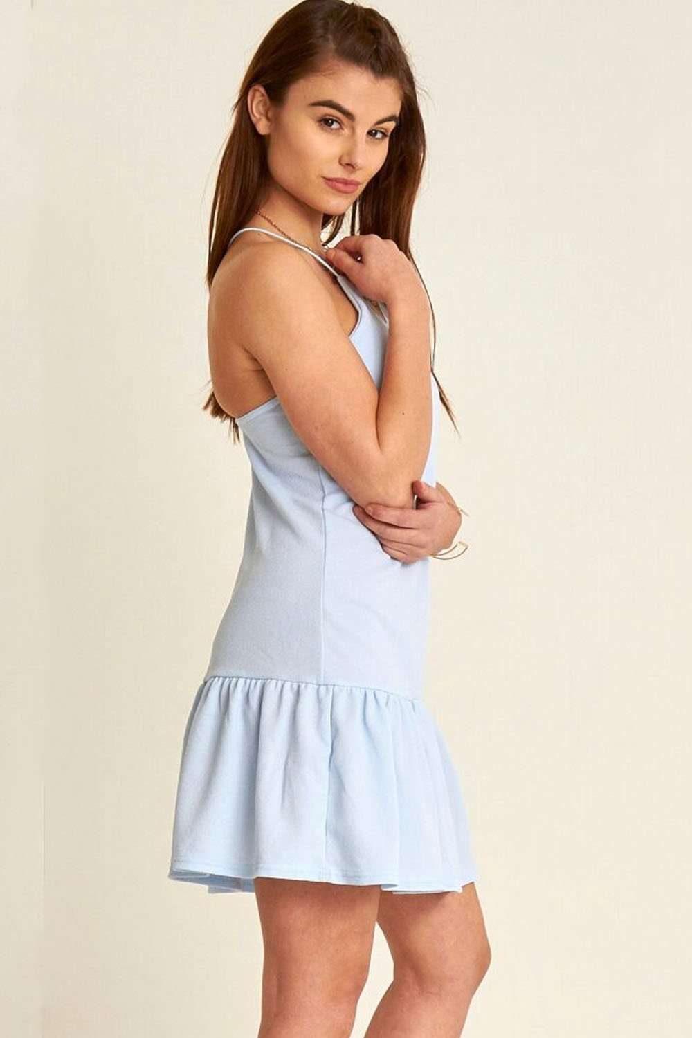 Lois Racer Back Frill Trim Mini Dress - bejealous-com