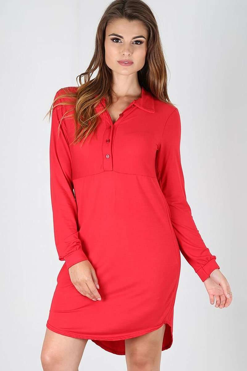Lola Long Sleeve Curved Hem Shirt Dress - bejealous-com