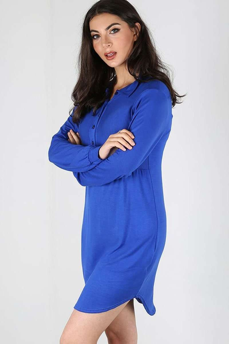 Long Sleeve Blue Mini Shirt Dress - bejealous-com