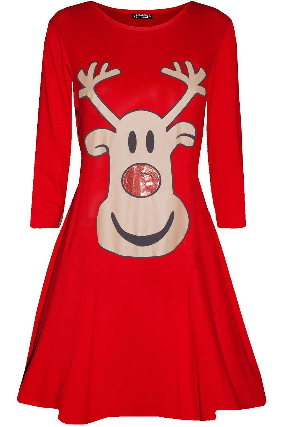Long Sleeve Christmas Reindeer Print Swing Dress - bejealous-com