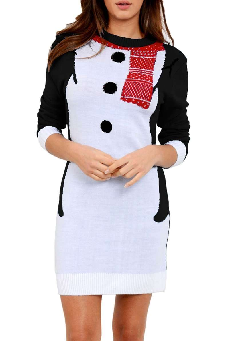 Long Sleeve Christmas Snowman Jumper Dress - bejealous-com