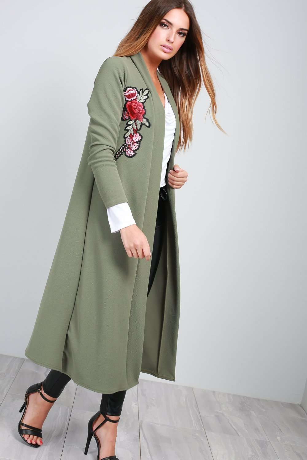 Long Sleeve Floral Embroidered Floaty Jacket - bejealous-com