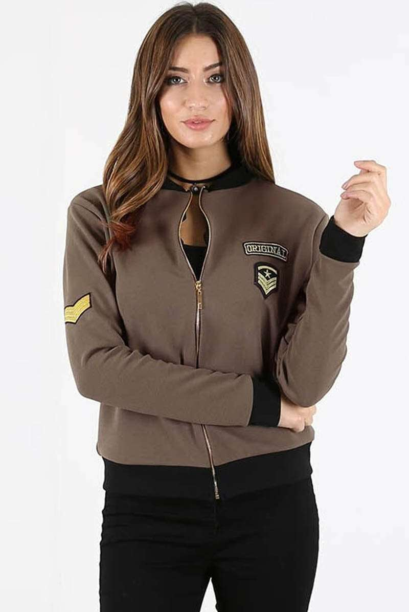 Long Sleeve Military Badge Khaki Bomber Jacket - bejealous-com