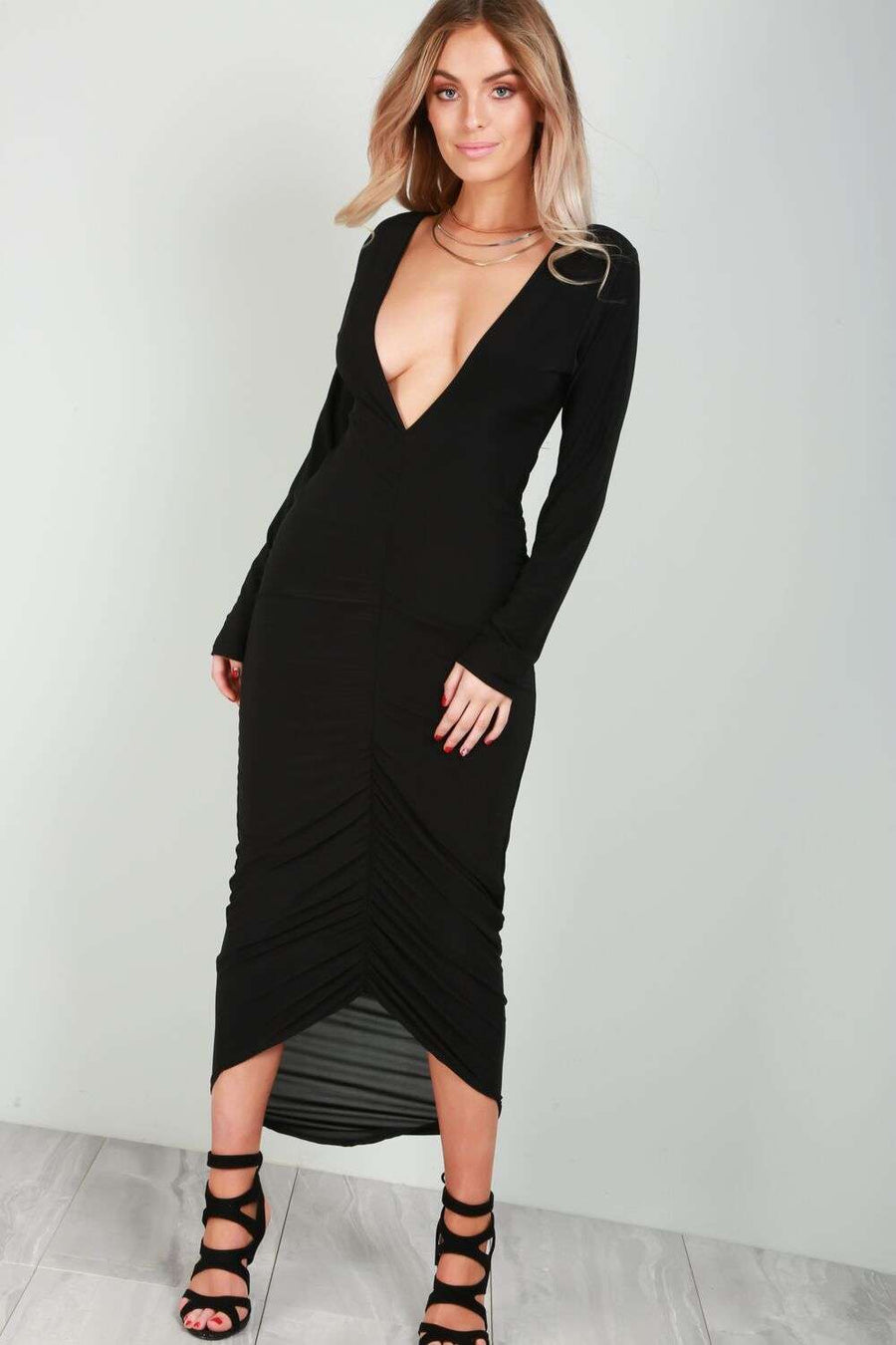 Long Sleeve Plunge Neck Ruched Midi Dress - bejealous-com