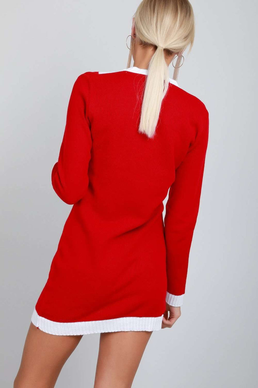 Long Sleeve Santa Costume Jumper Dress - bejealous-com