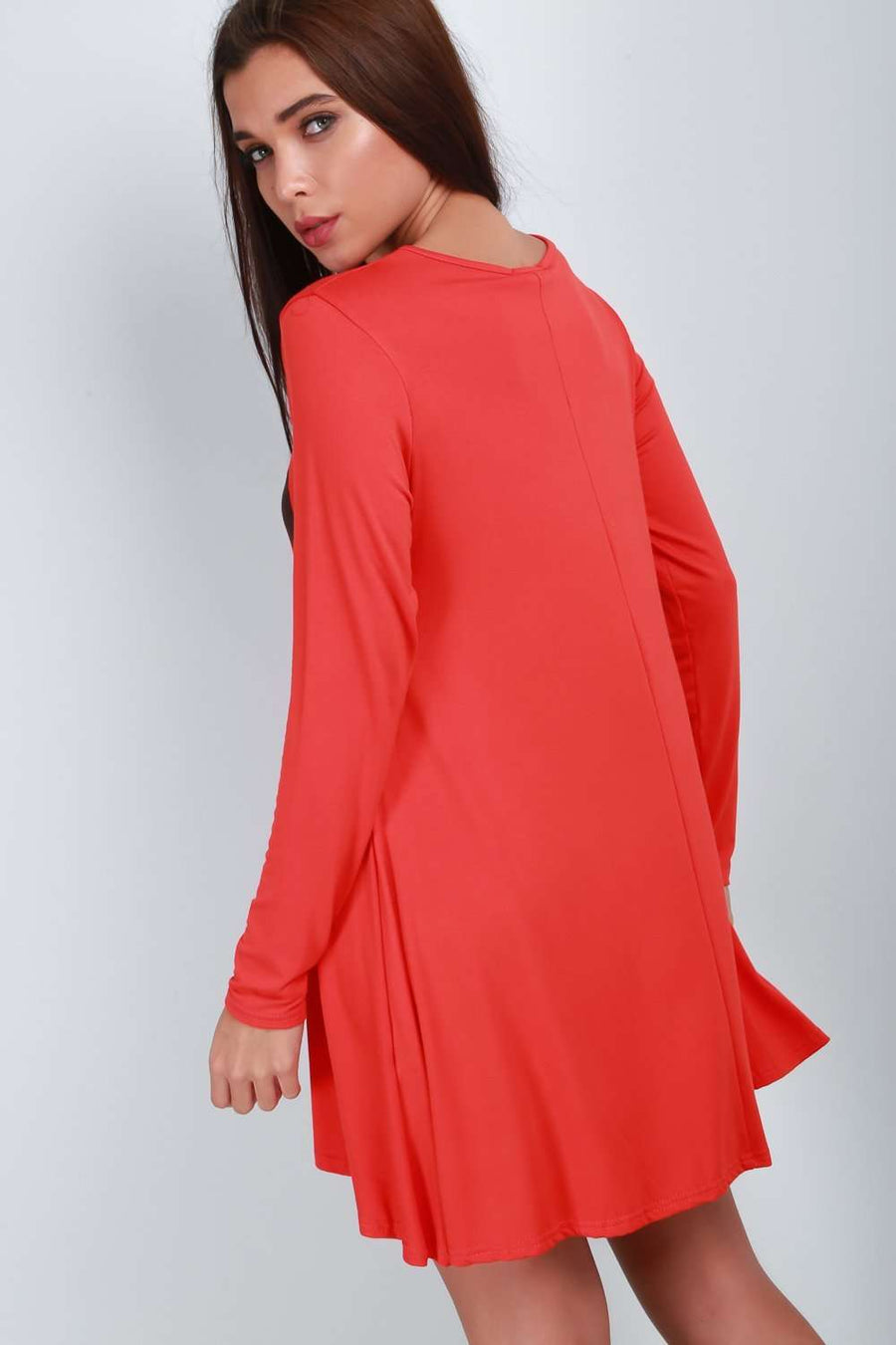 Long Sleeve Scary Pumpkin Swing Dress - bejealous-com