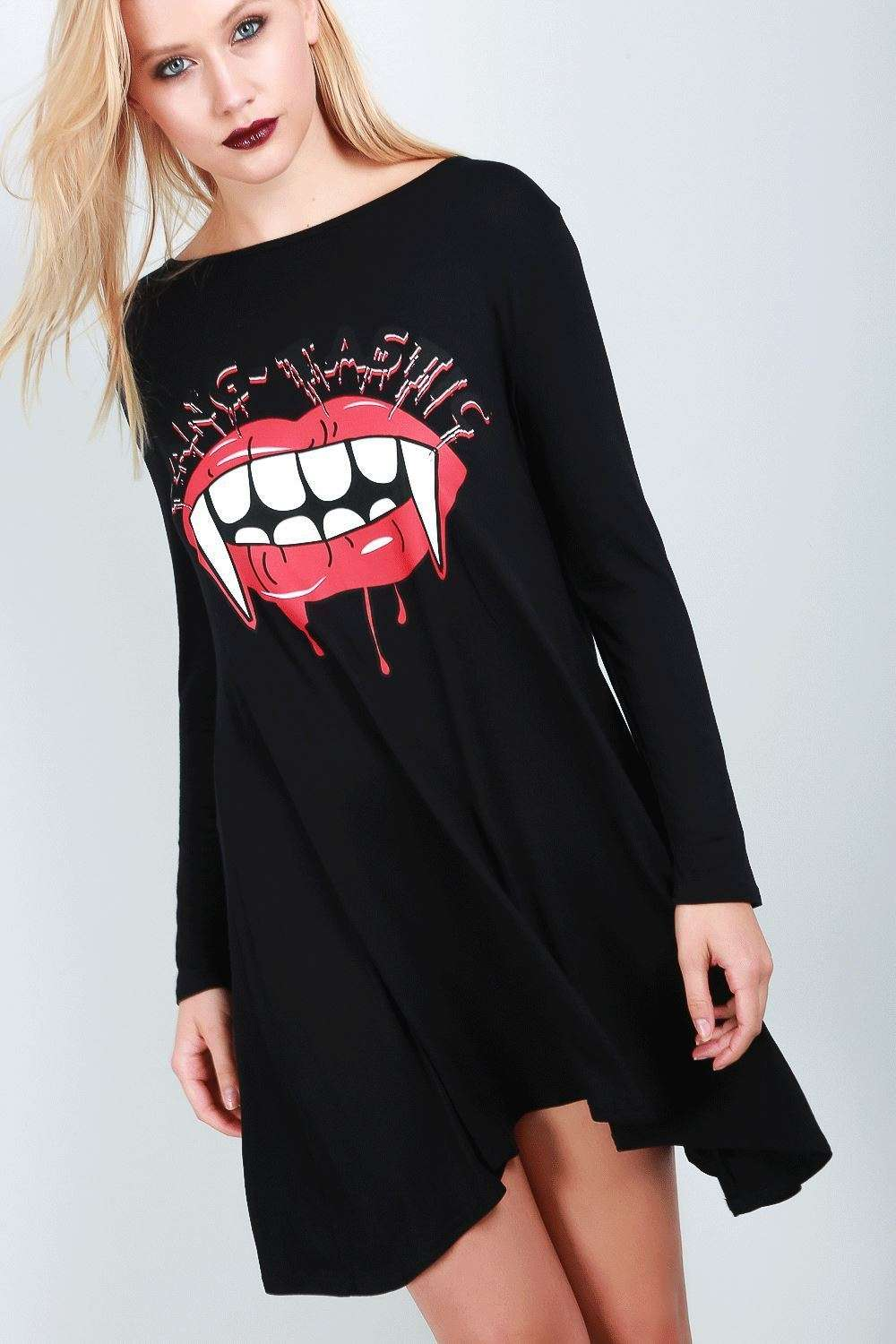 Long Sleeve Vampire Fangs Swing Dress - bejealous-com