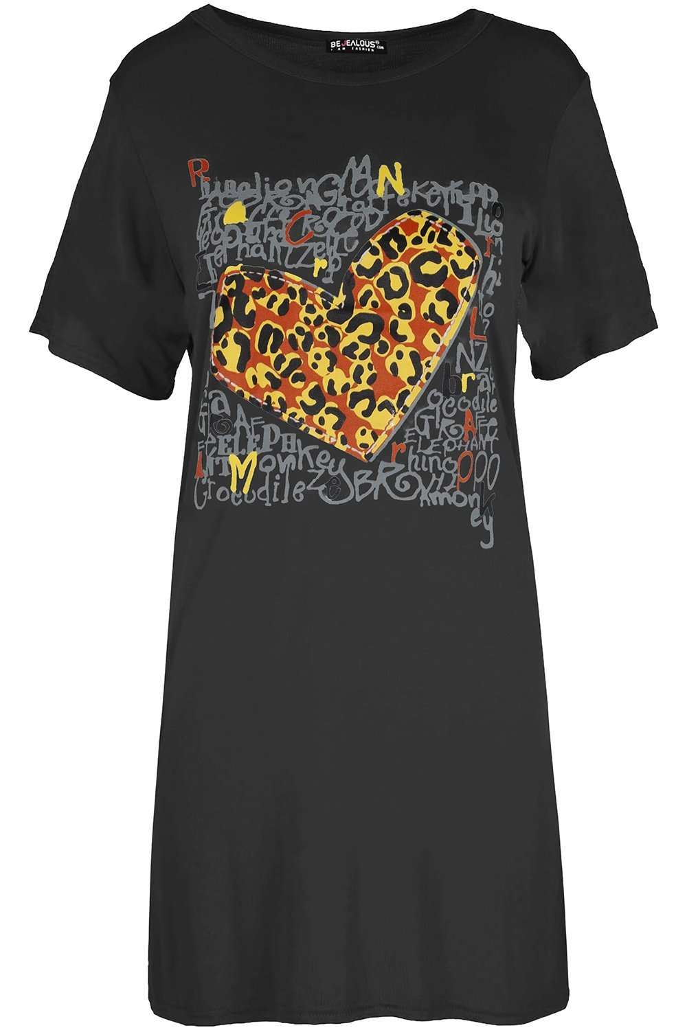 Lorna Leopard Print Graphic Tshirt Dress - bejealous-com