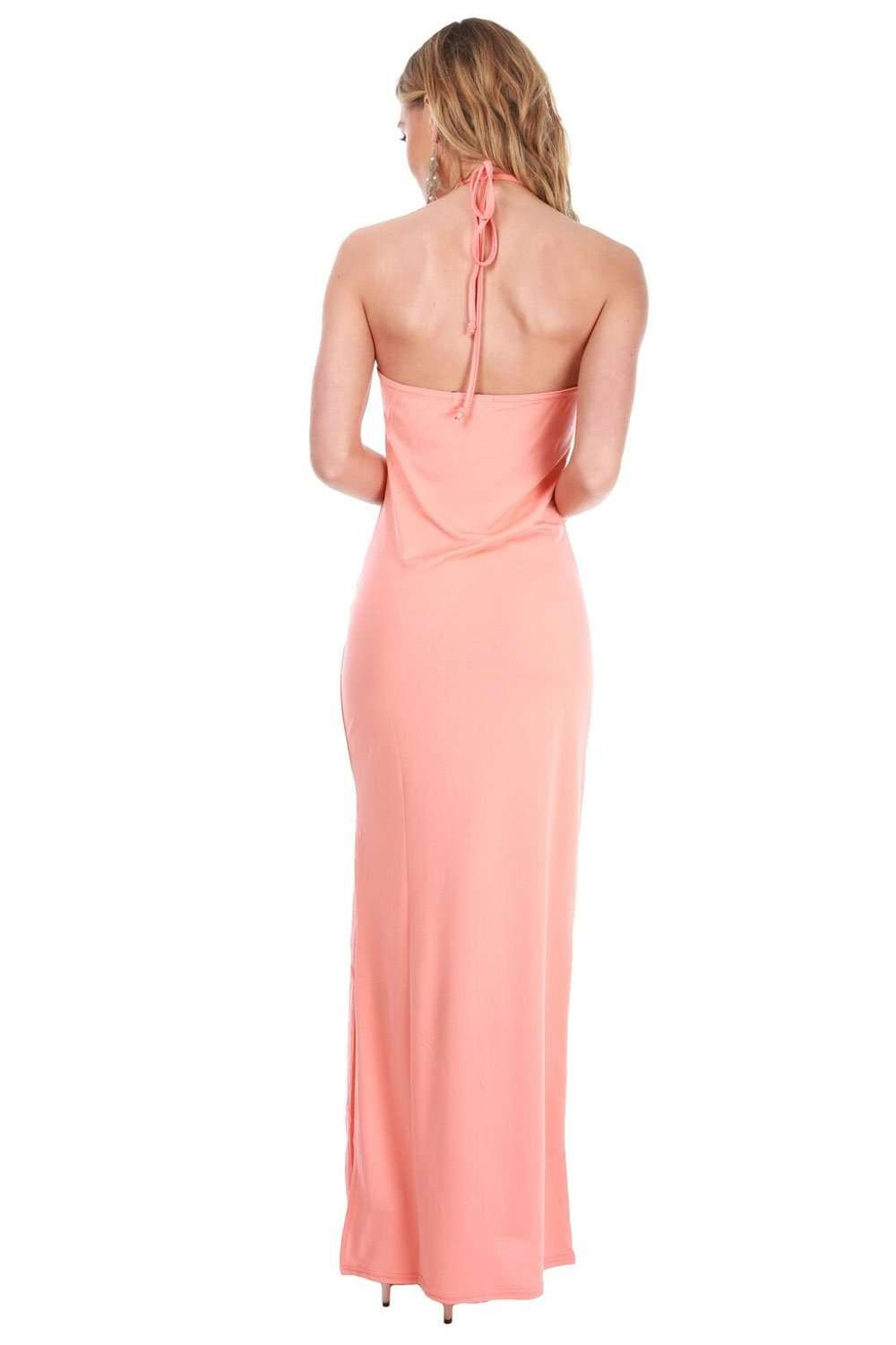 Lorna Side Split Halterneck Maxi Dress - bejealous-com