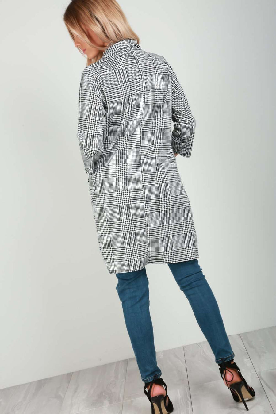 Lottie Monochrome Check Long Line Jacket - bejealous-com