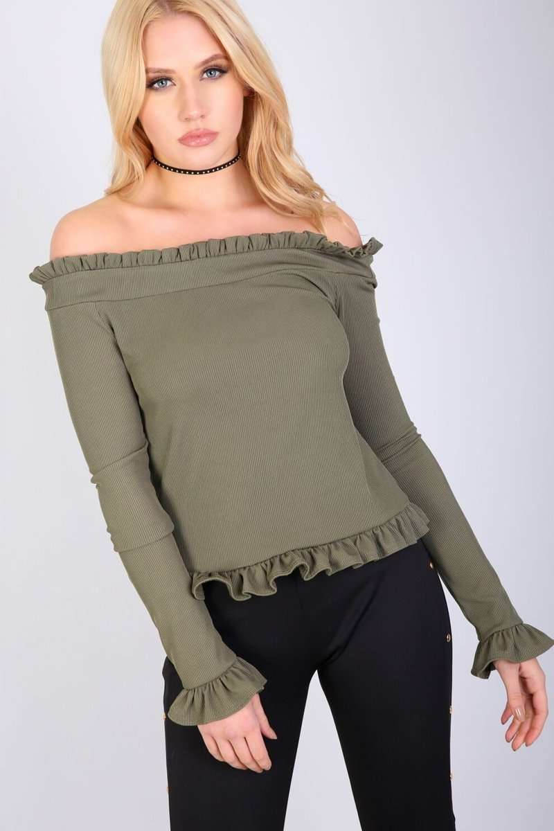 Lou Bardot Frill Ribbed Long Sleeve Top - bejealous-com