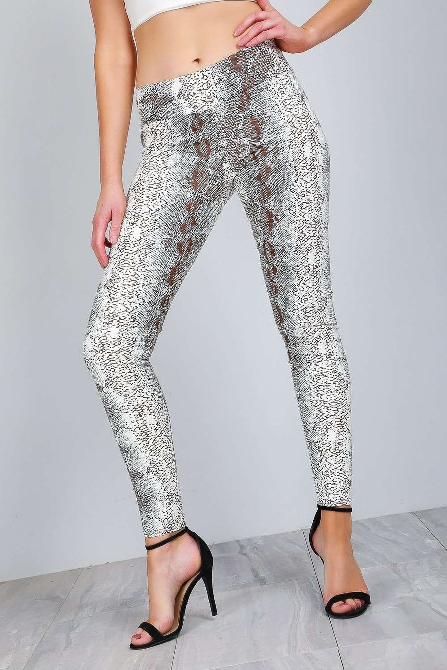 Louise High Waist Snake Print Vinyl Leggings - bejealous-com