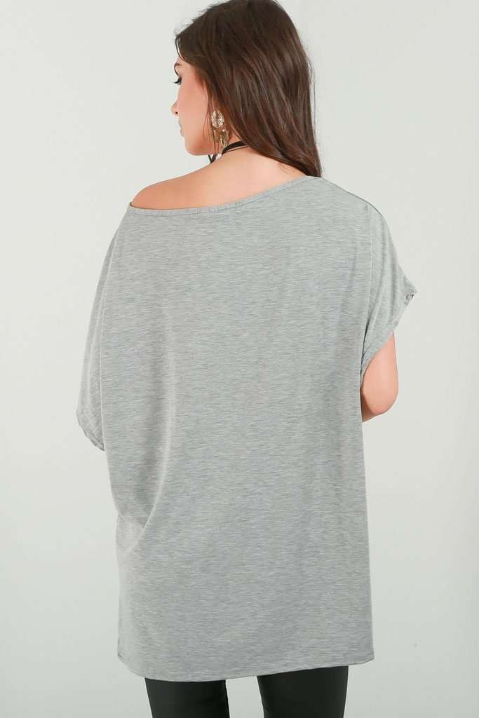 Basic Off Shoulder Khaki Tshirt - bejealous-com