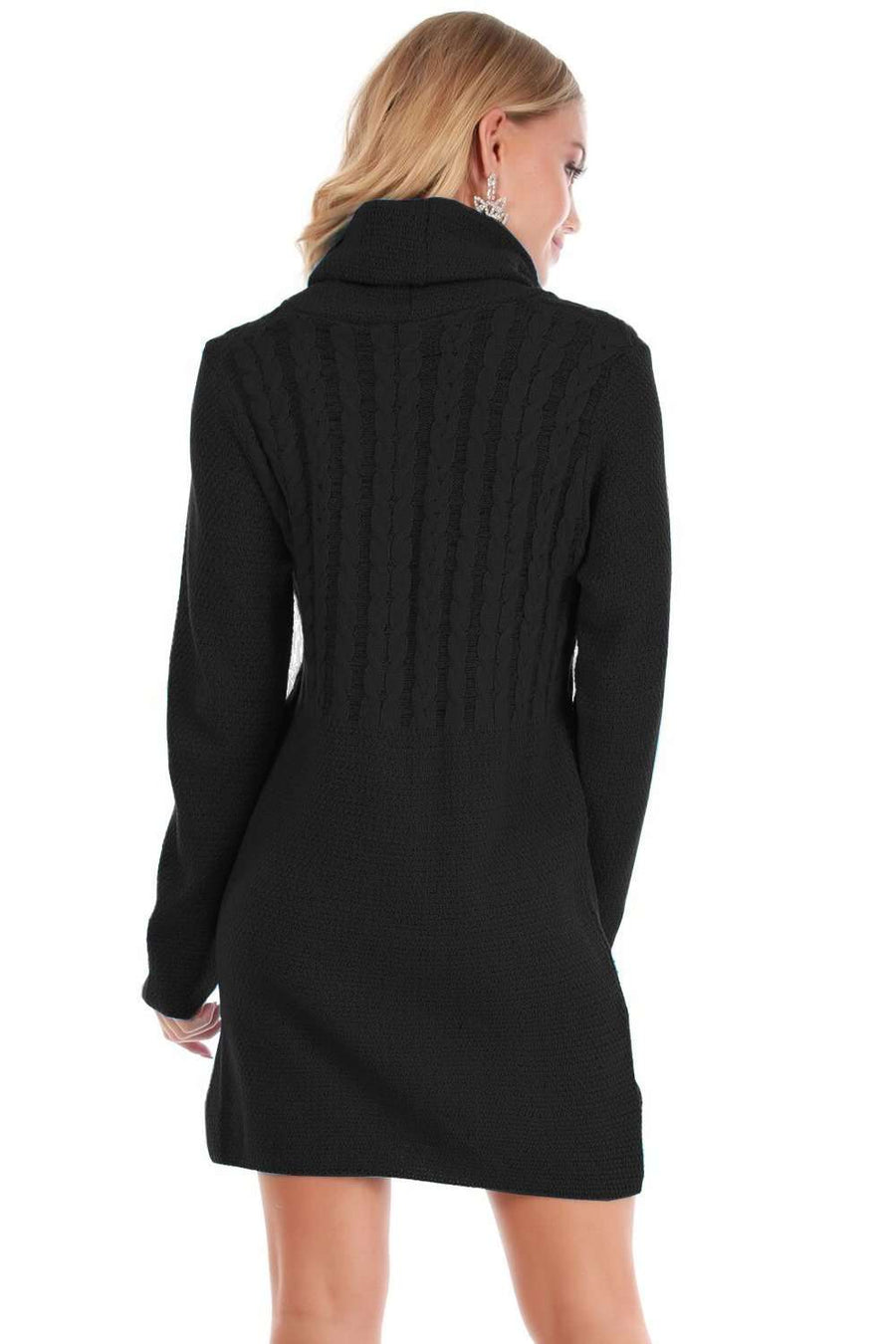 Lulu Roll Neck Knitted Jumper Dress - bejealous-com