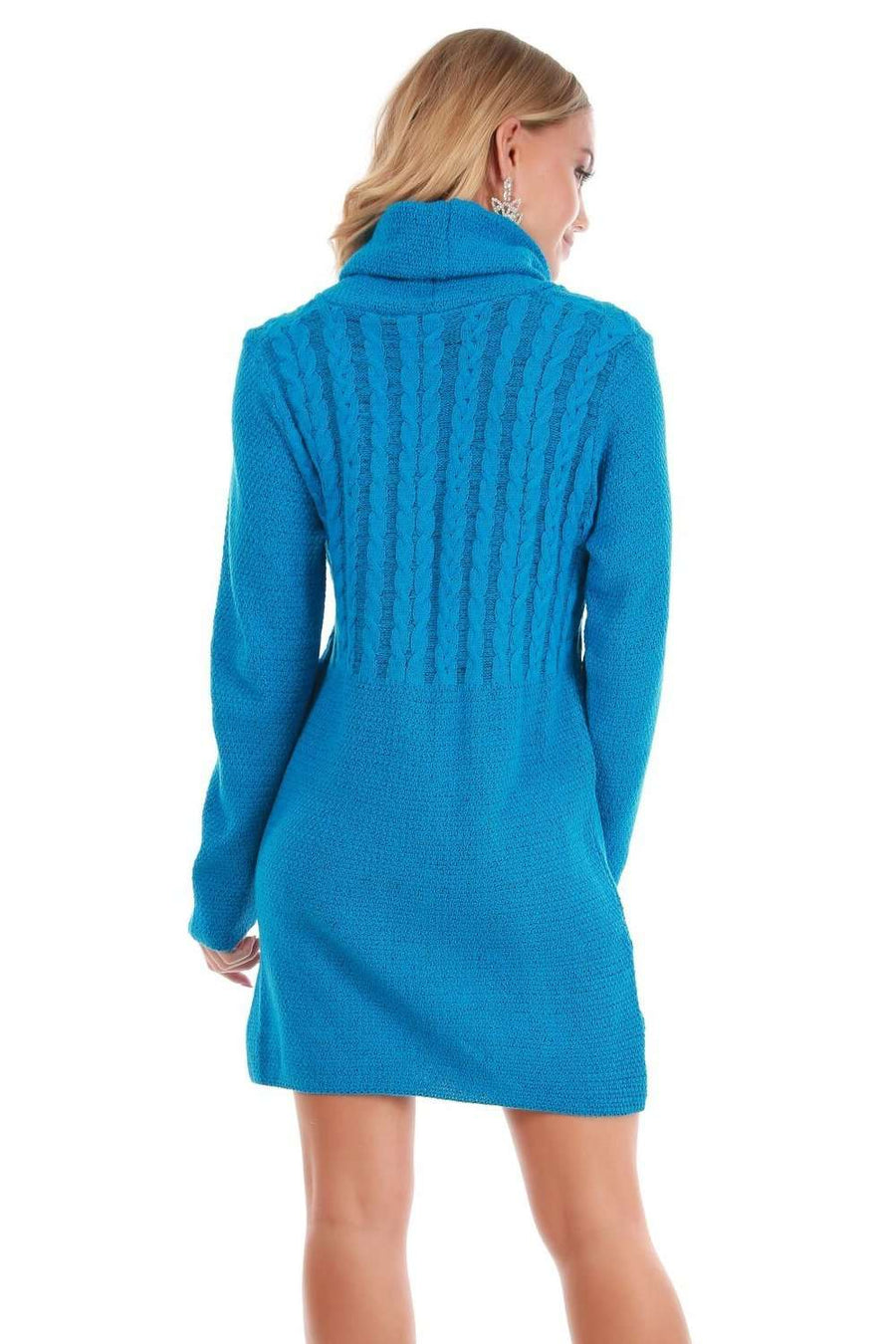 Roll Neck Blue Knitted Jumper Dress - bejealous-com