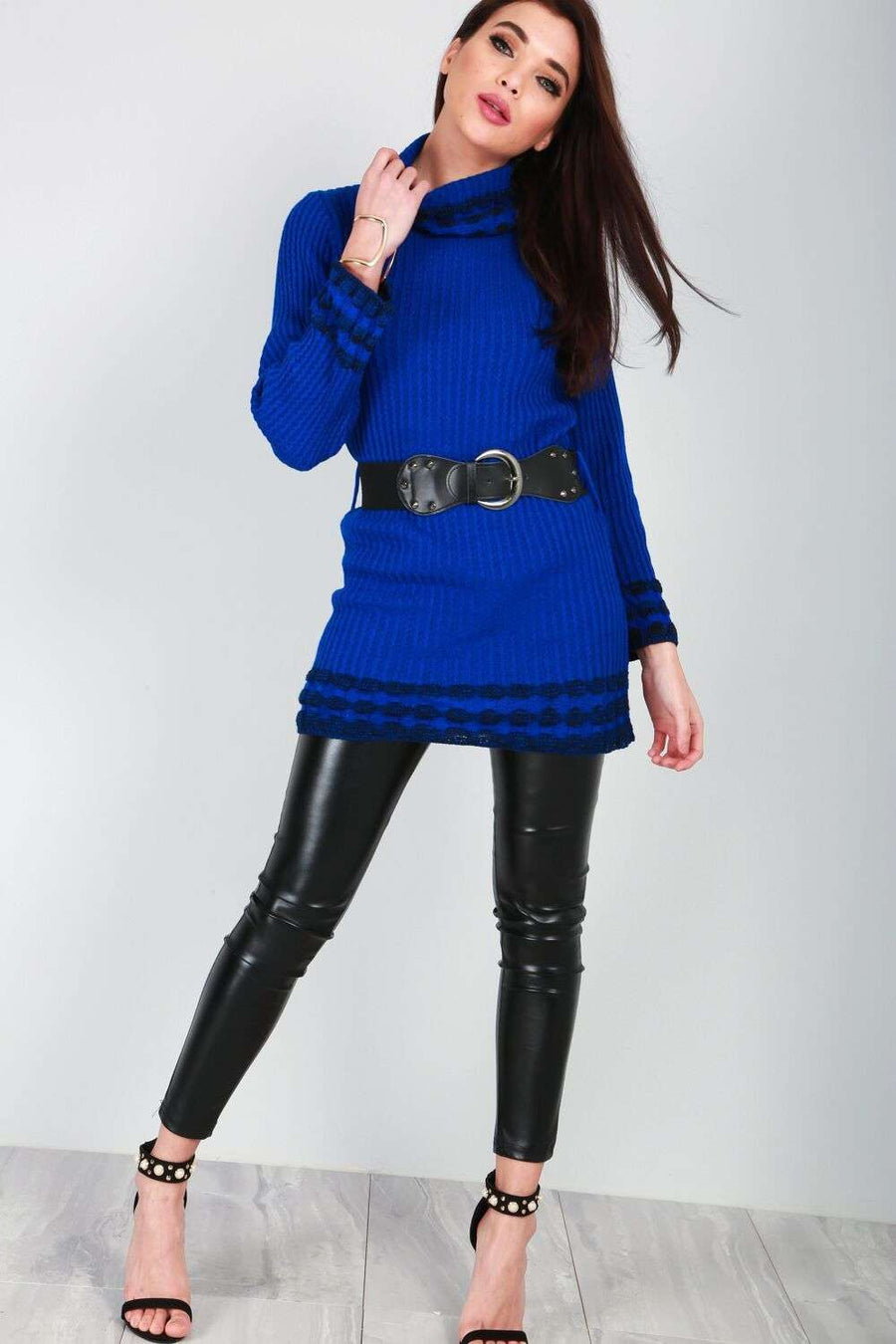 Luna Roll Neck Knitted Jumper With Belt - bejealous-com