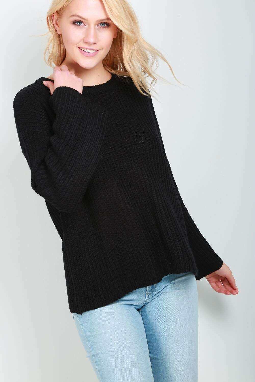 Lyla Chunky Knit Wide Sleeve Jumper - bejealous-com