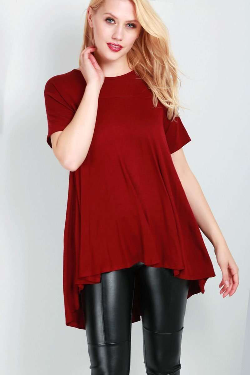 Dipped Hem Red Basic Swing Tshirt - bejealous-com