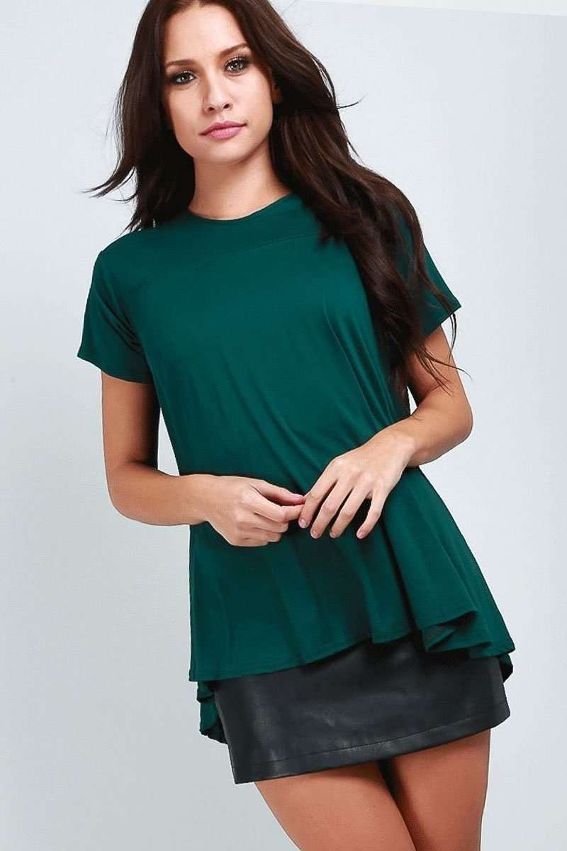 Dipped Hem Loose Fit  Green Jersey Tshirt - bejealous-com