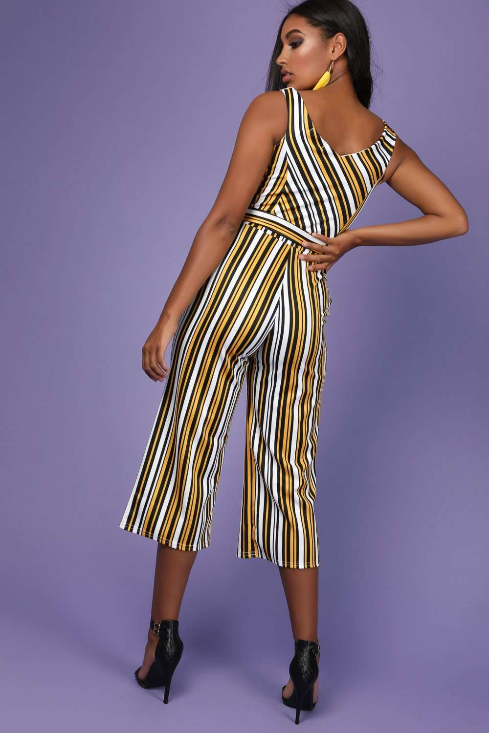 Mae Bardot Striped Belted Cropped Leg Jumpsuit - bejealous-com