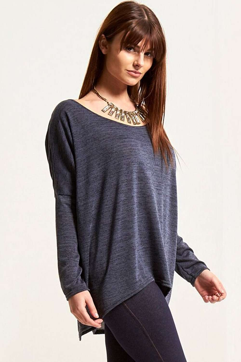 Mae Off Shoulder Fine Knit Dipped Hem Top - bejealous-com