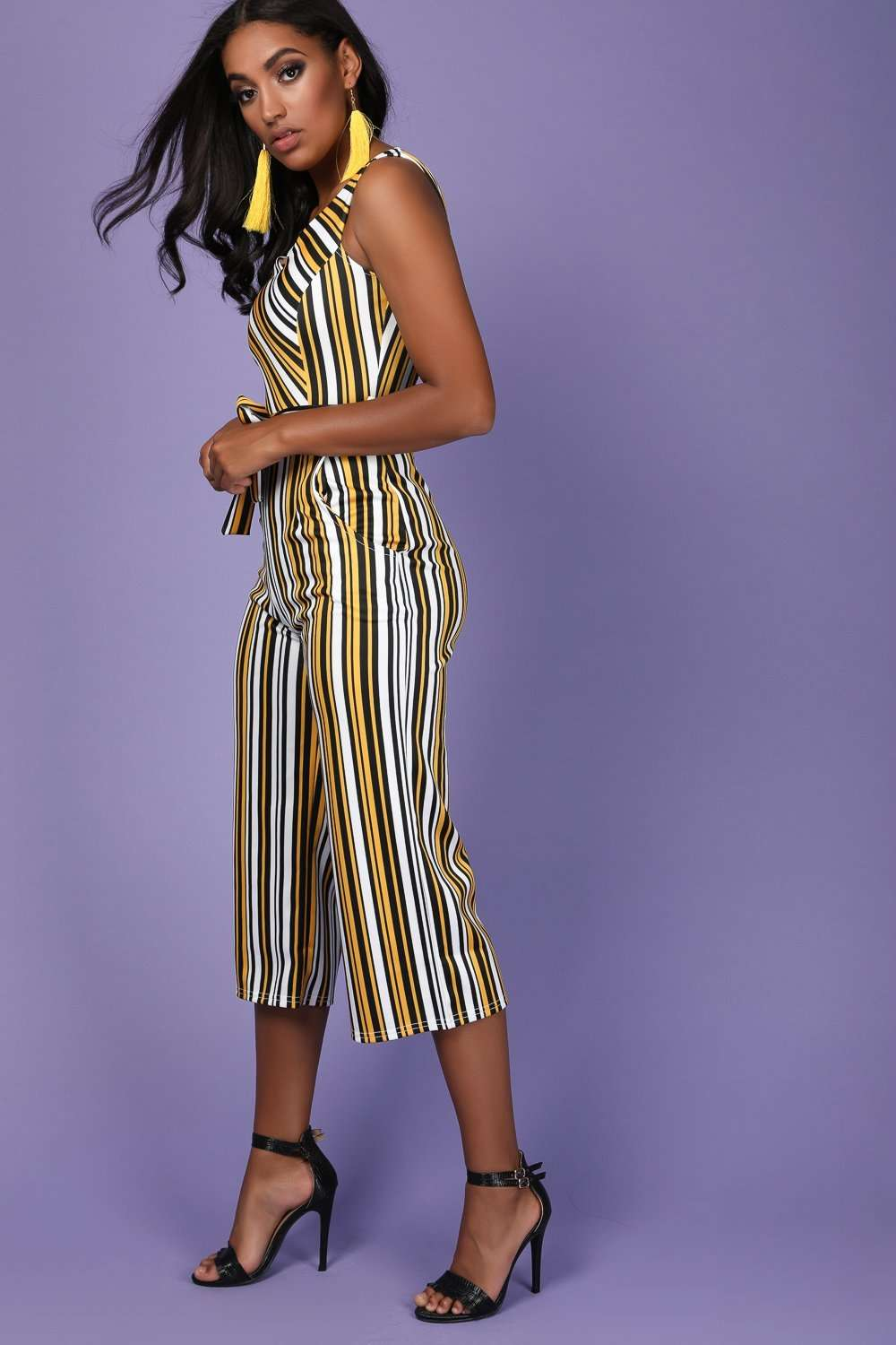 Mae Striped Bardot Jumpsuit - bejealous-com