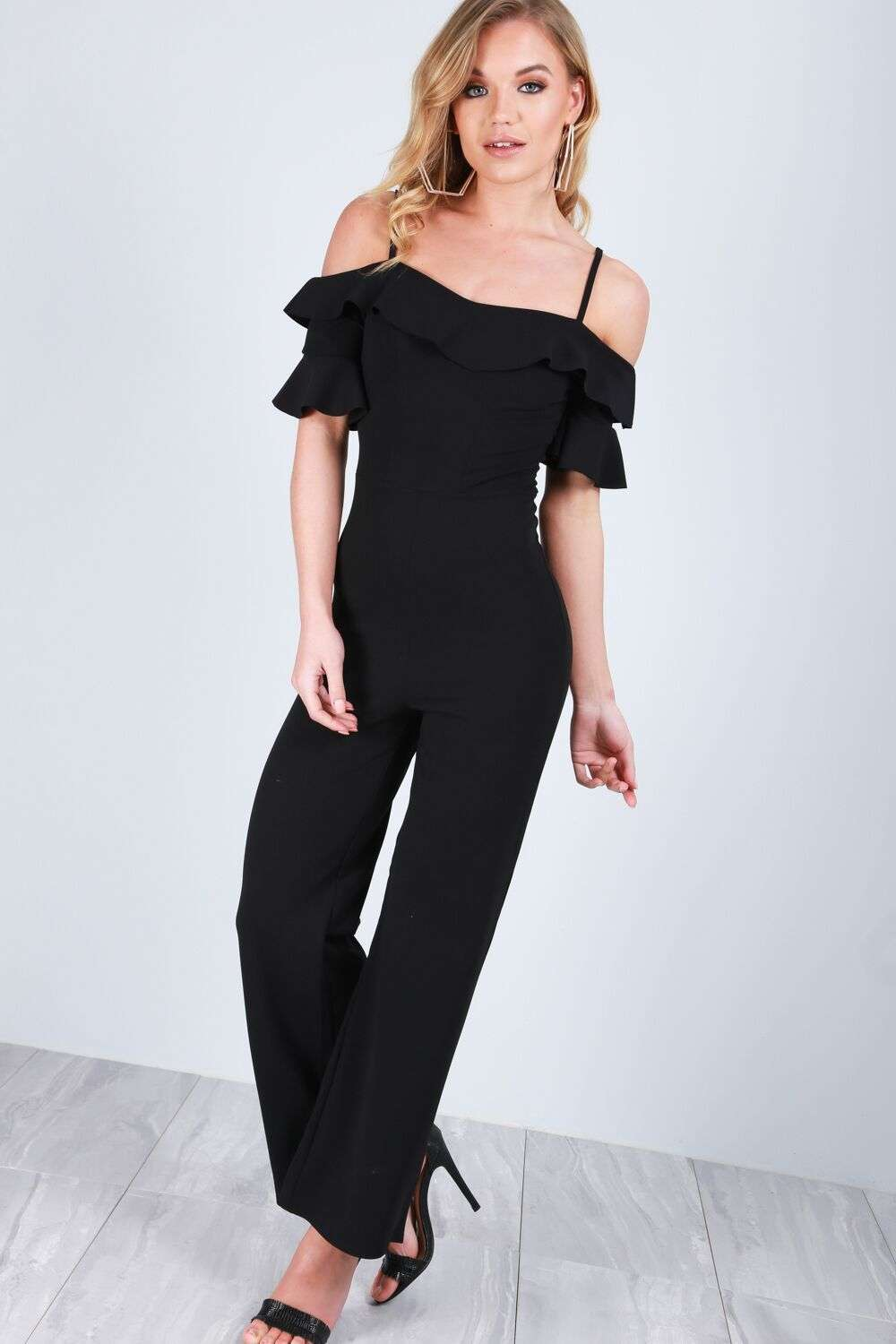 Maisie Cold Shoulder Frill Sleeve Jumpsuit - bejealous-com