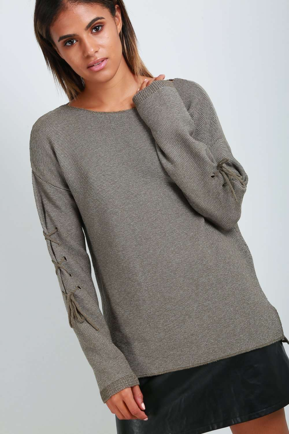Maisie Lace Up Knitted Jumper - bejealous-com