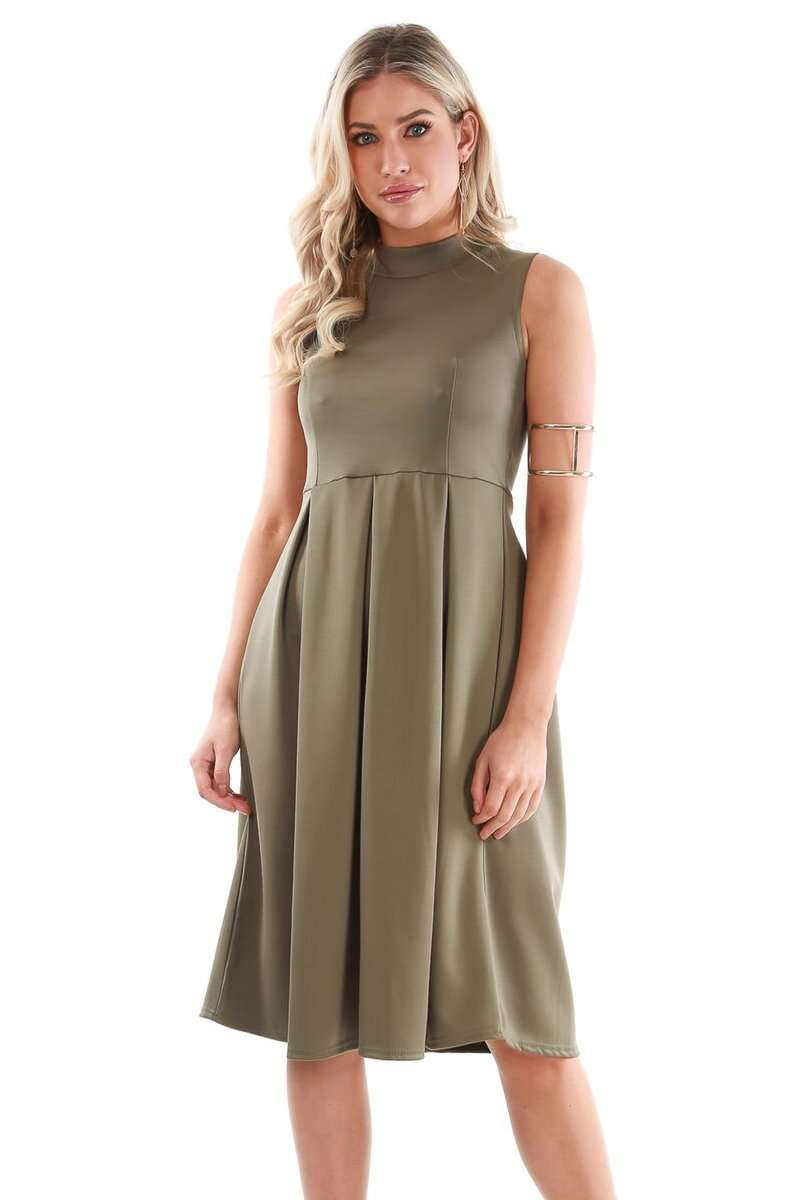 Malia Sleeveless Flared Midi Skater Dress - bejealous-com
