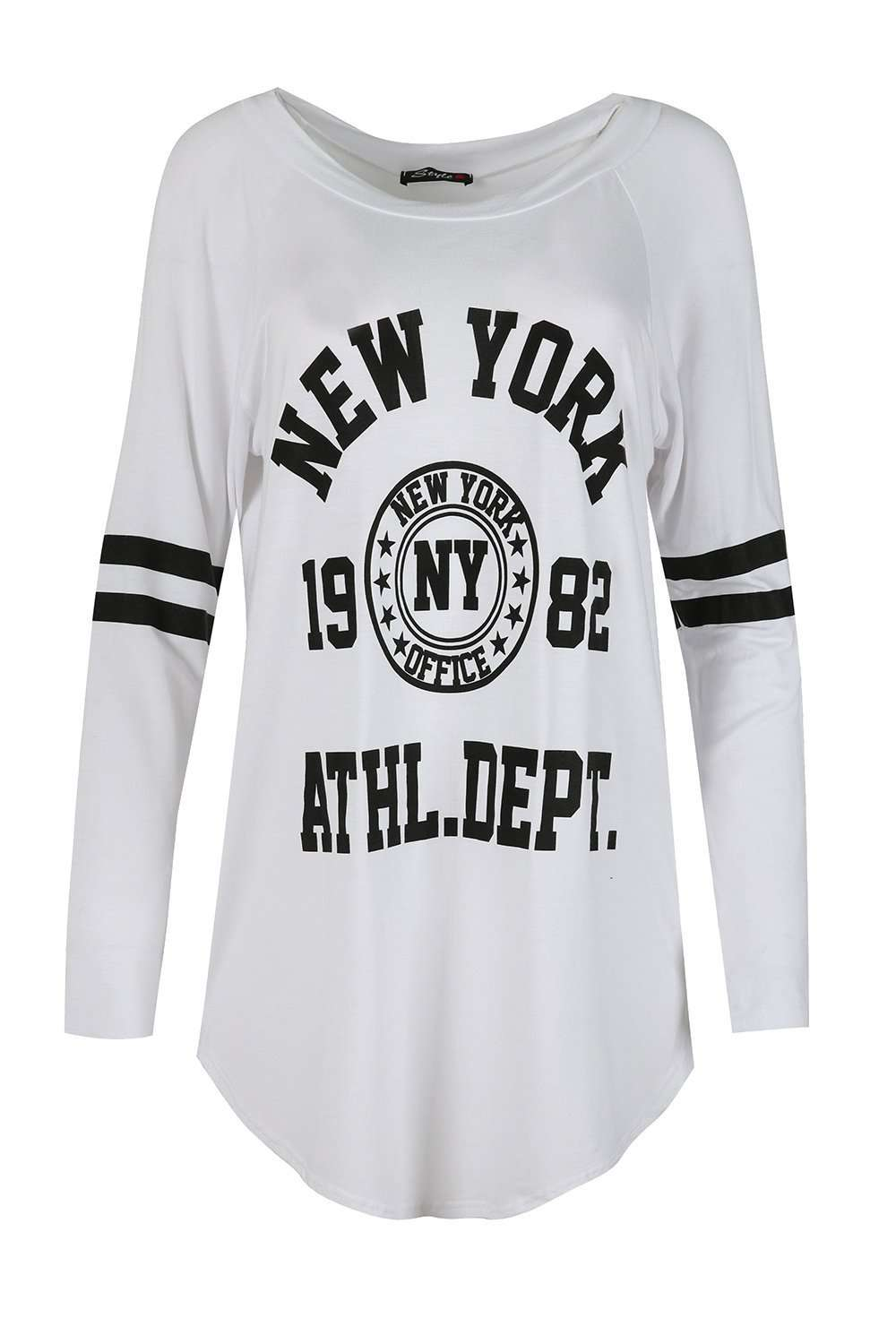Maria Long Sleeve New York Slogan Tshirt Dress - bejealous-com