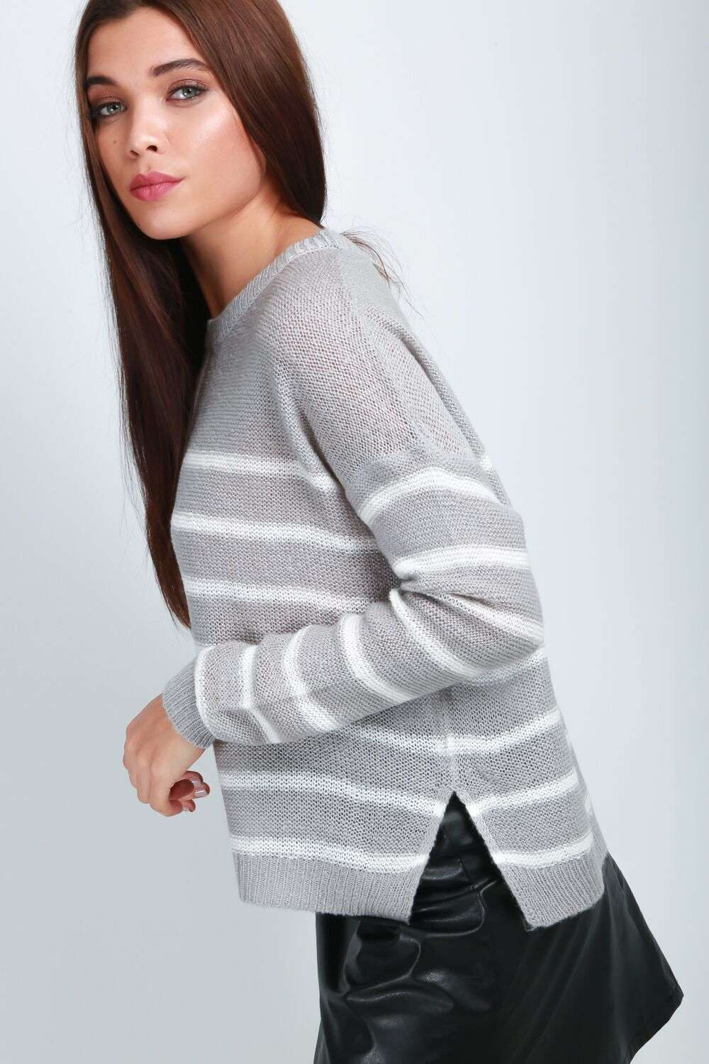 Maria Striped Long Sleeve Knitted Jumper - bejealous-com