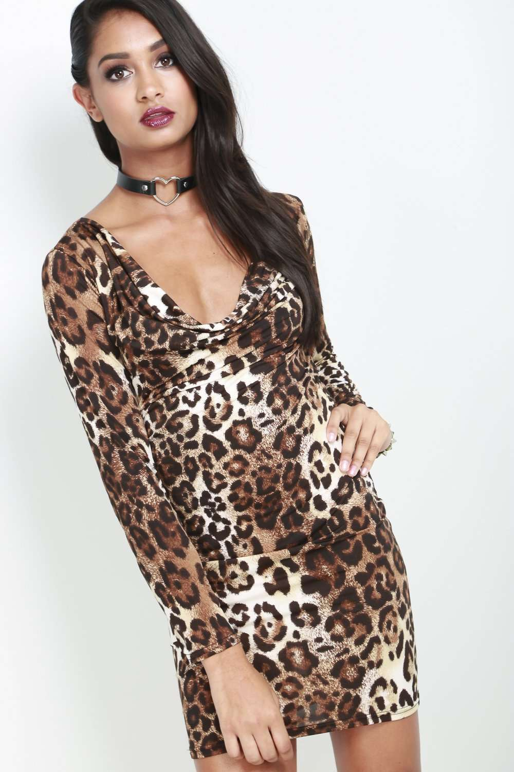 Marice Long Sleeve Leopard Print Mini Dress - bejealous-com