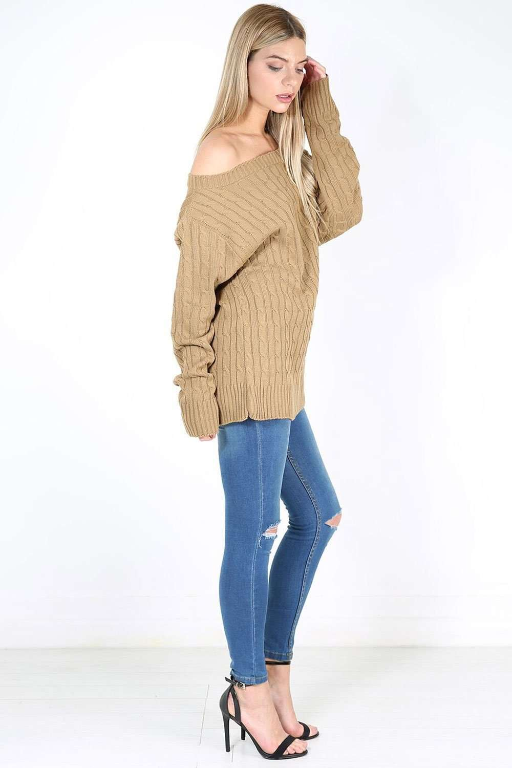 Mariya Off Shoulder Cable Knitted Jumper - bejealous-com