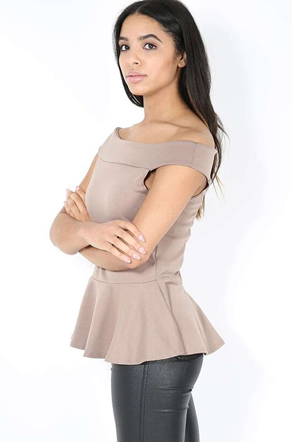 Marley Off Shoulder Peplum Frill Top - bejealous-com