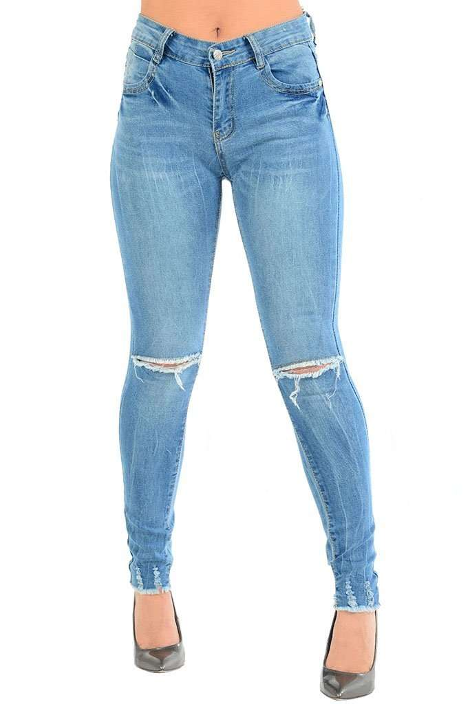 Marliah Ripped Knee Denim Skinny Jeans - bejealous-com