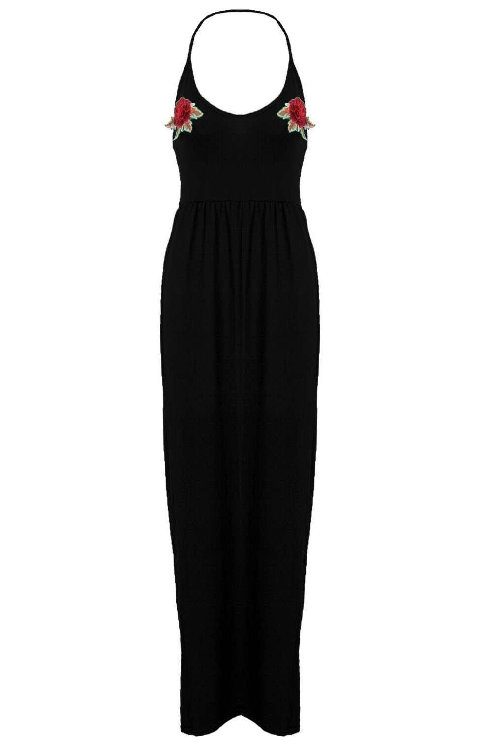 Martha Halter Neck Floral Embroidered Maxi Dress - bejealous-com