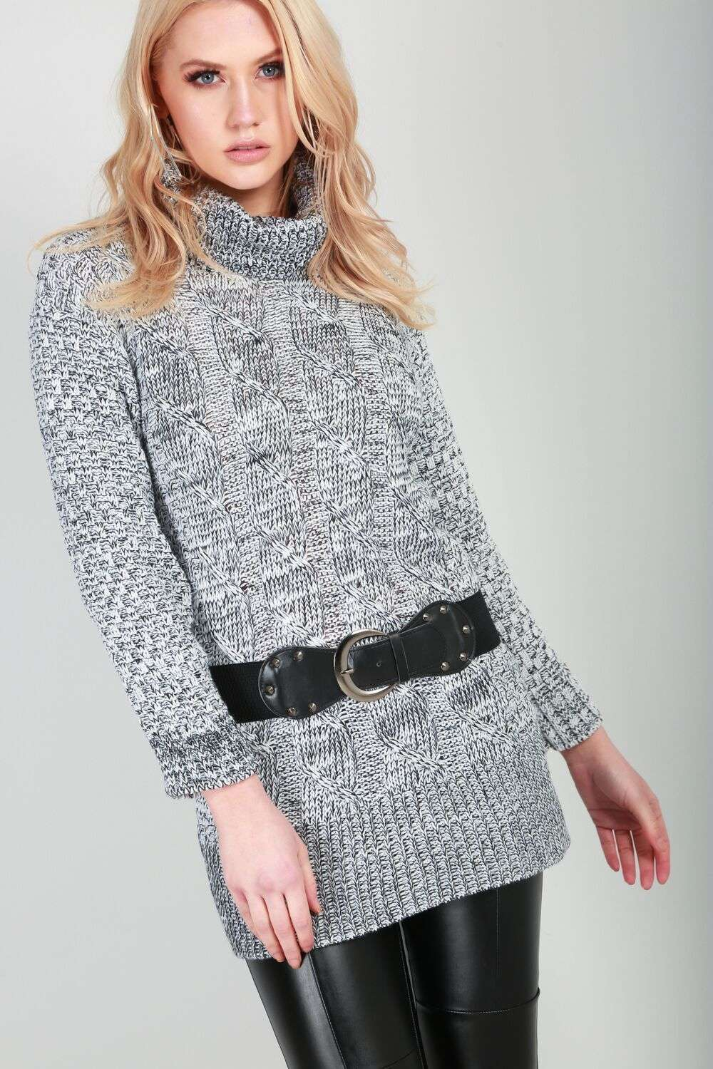Grey High Neck Knitted Jumper With Belt - bejealous-com