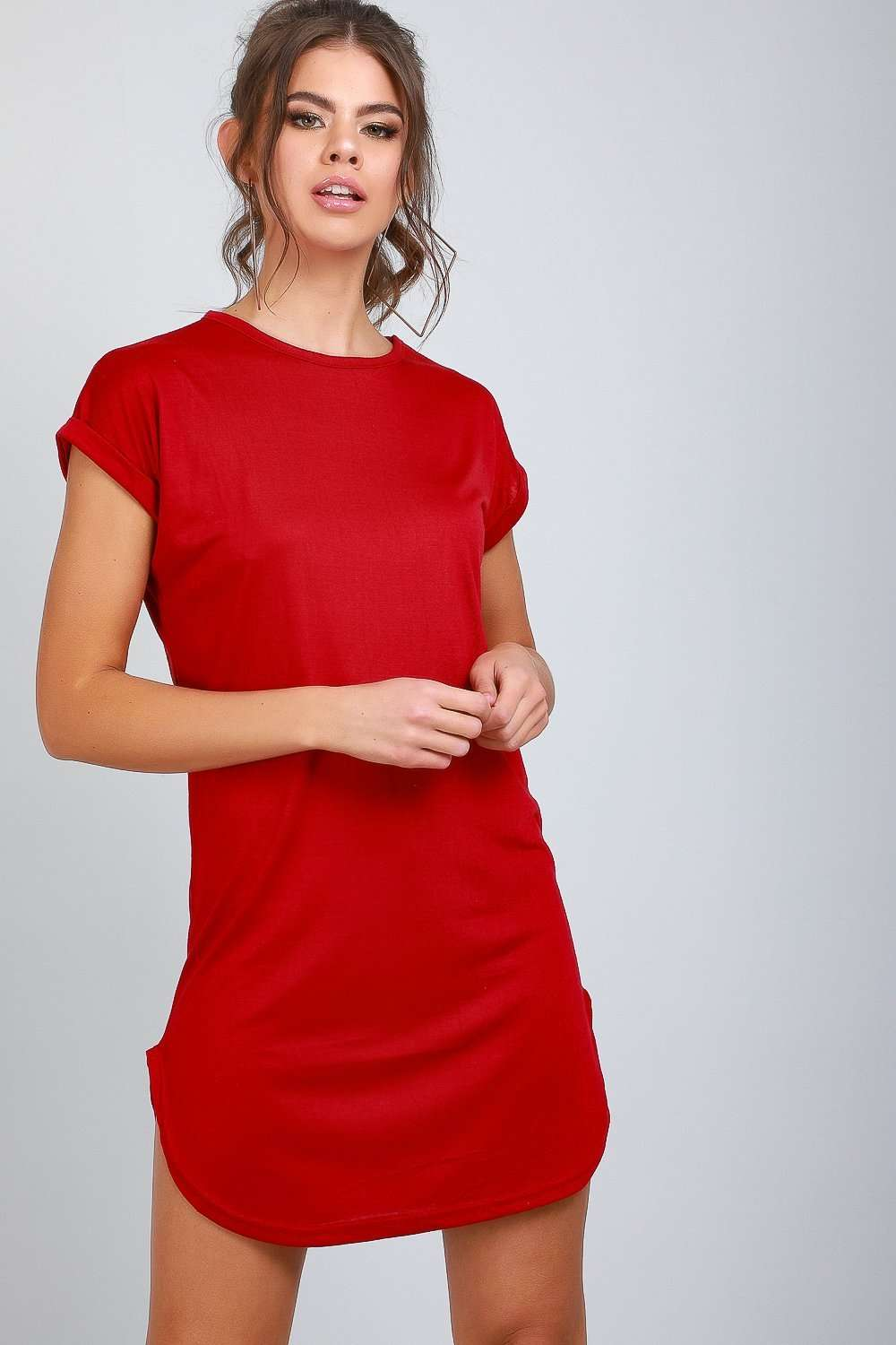 Red Turn Up Sleeve Curved Hem Tshirt Dress - bejealous-com