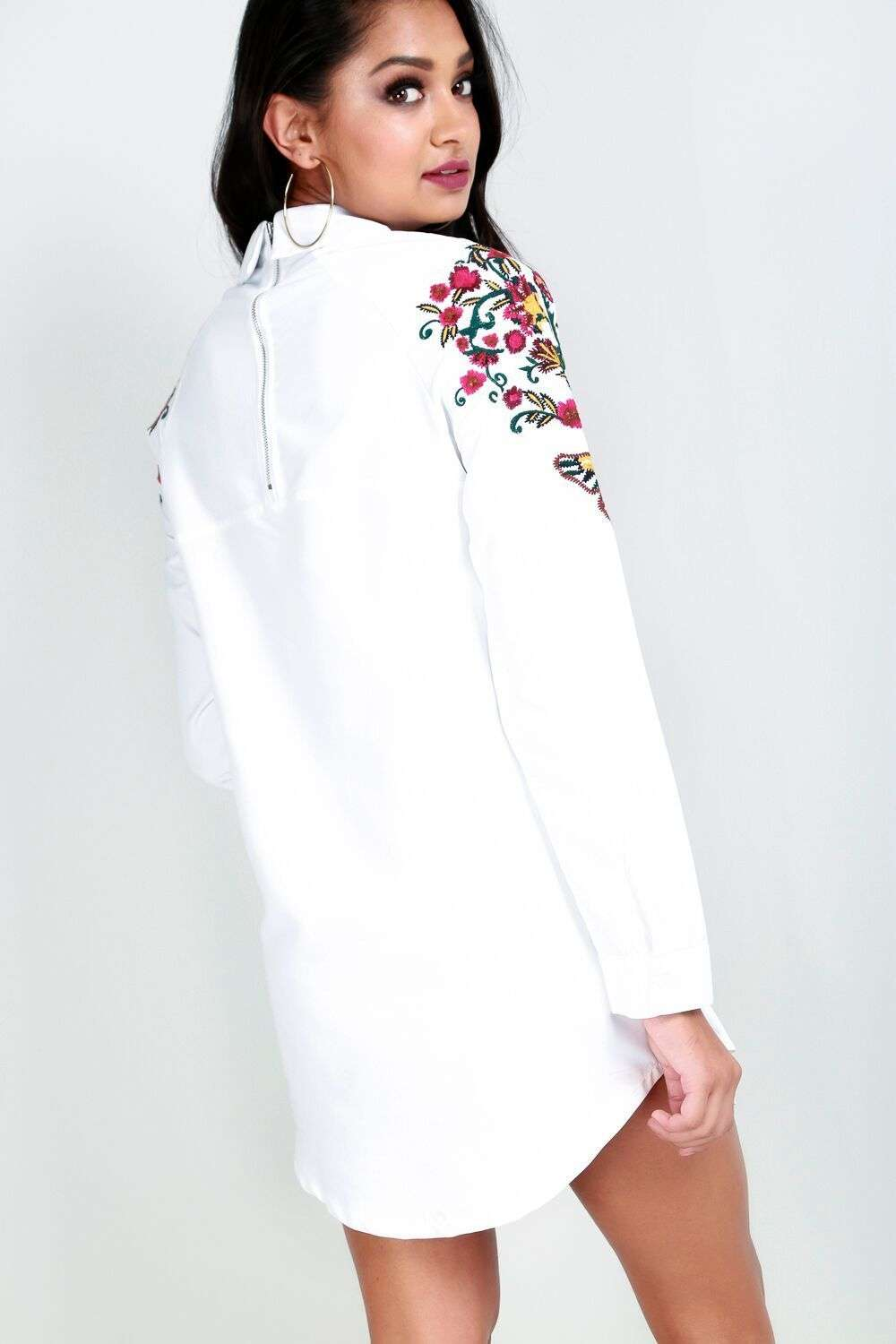 Meghan Floral Embroidered Curved Hem Shirt Dress - bejealous-com