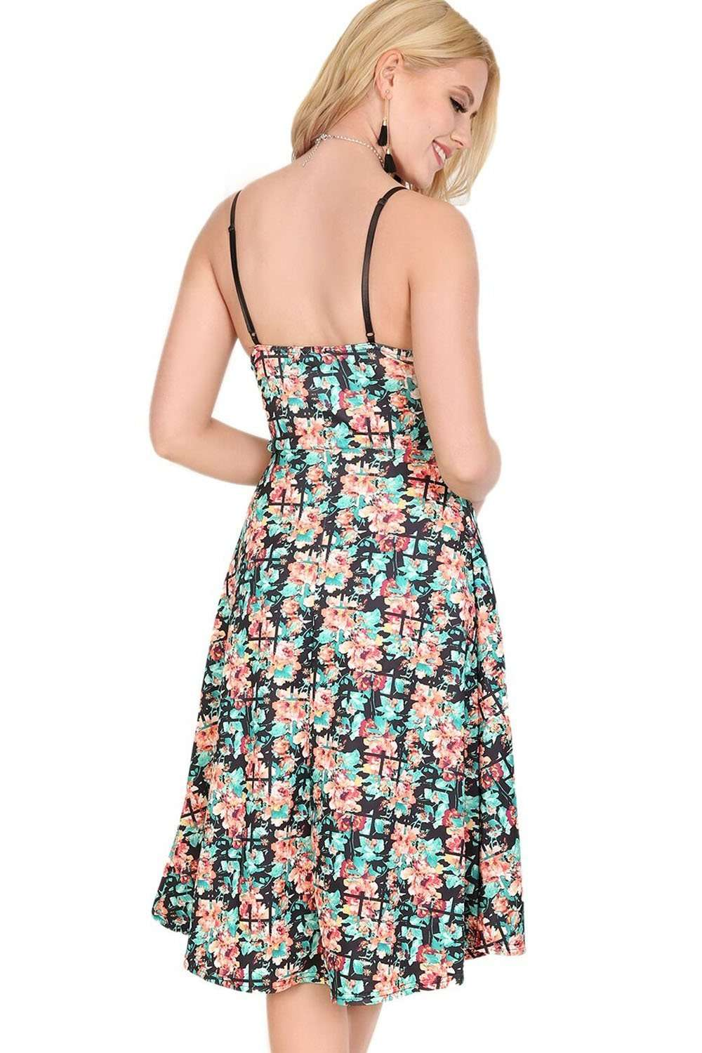 Melissa Floral Abstract Print Midi Swing Dress - bejealous-com