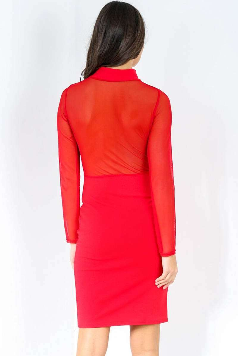 Mesh Long Sleeve Red Bodycon Midi Dress - bejealous-com