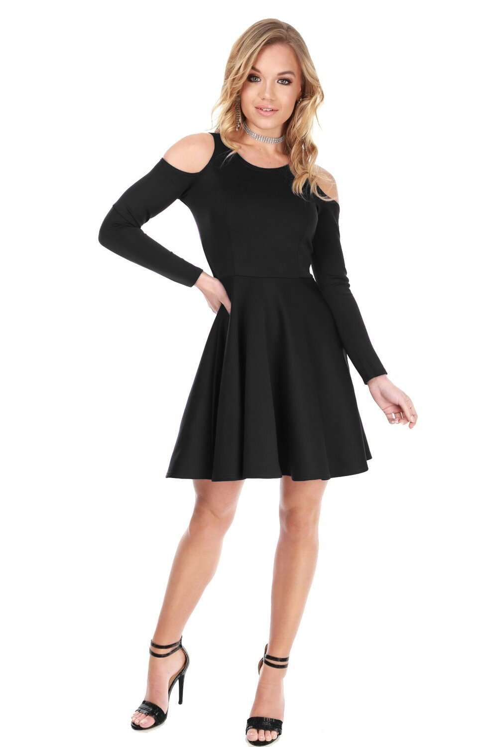 Mia Cold Shoulder Long Sleeve Mini Skater Dress - bejealous-com