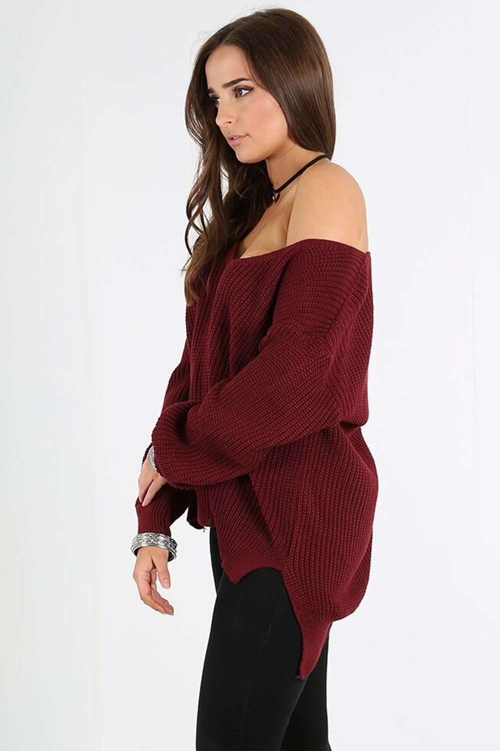 Miah Vneck Off Shoulder Knitted Jumper - bejealous-com