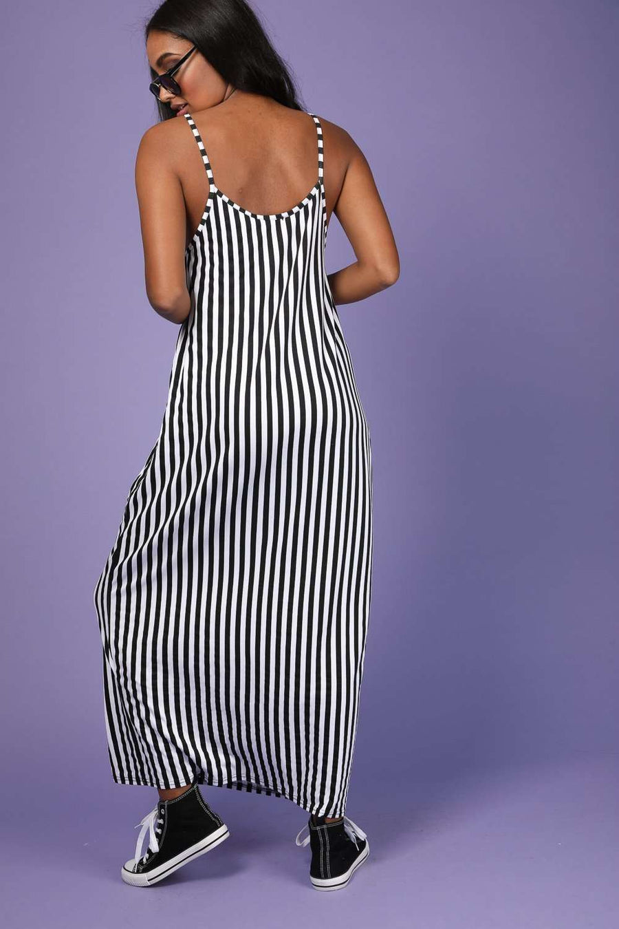 Mika Monochrome Striped Cami Maxi Dress - bejealous-com