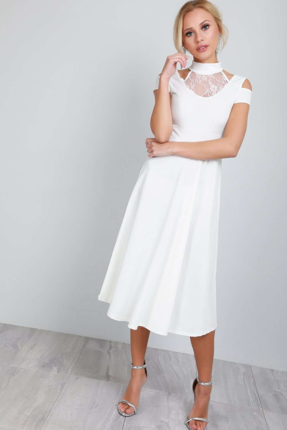 Millie High Neck Cold Shoulder Midi Swing Dress - bejealous-com